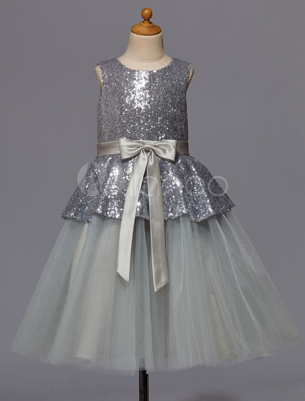 Silver Flower Girl Dress With Bow Sash Sequins Satin