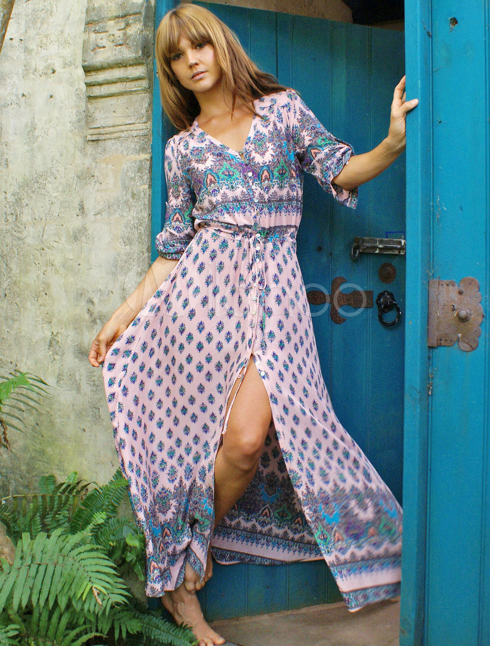 Multicolor Maxi Dress With Print Split Chiffon for Women Cheap clothes, free shipping worldwide