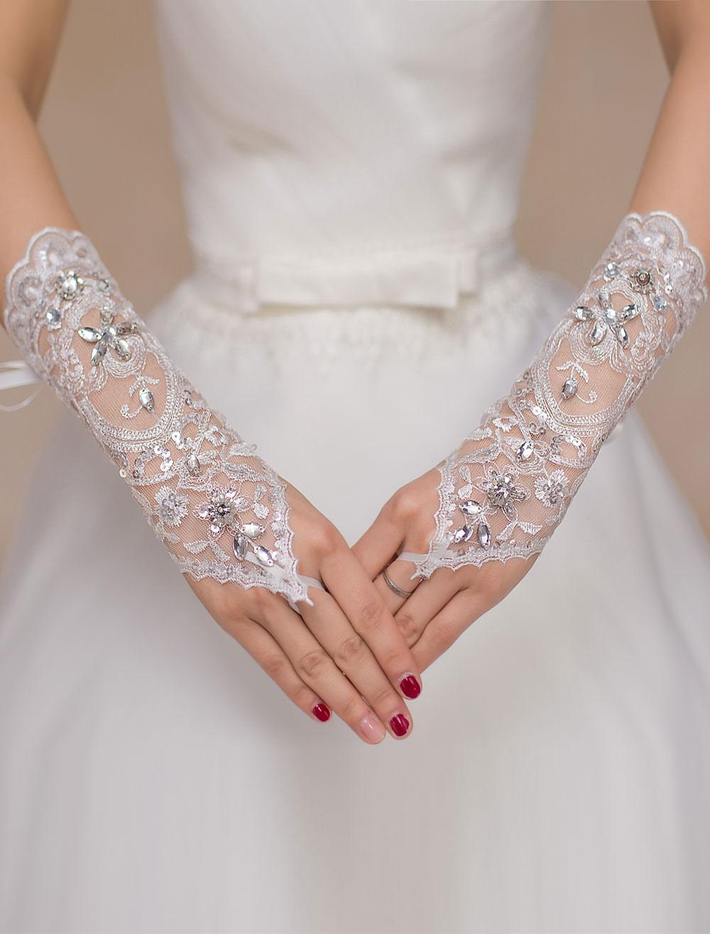 Ivory Lace Rhinestone Wedding Gloves