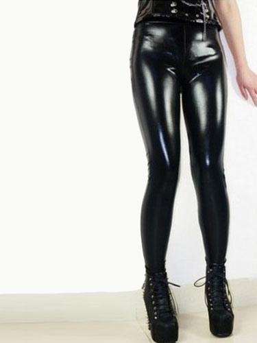 Black Patent PU Shaping Leggings for Women Cheap clothes, free shipping worldwide