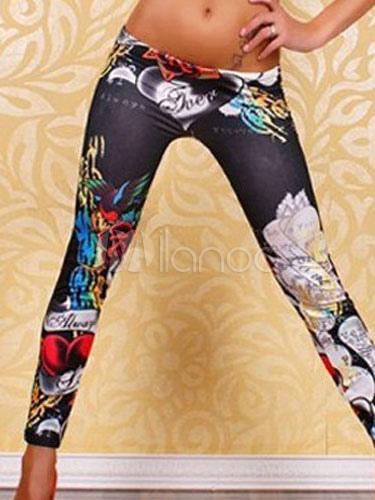 Black Print Spandex Leggings for Women