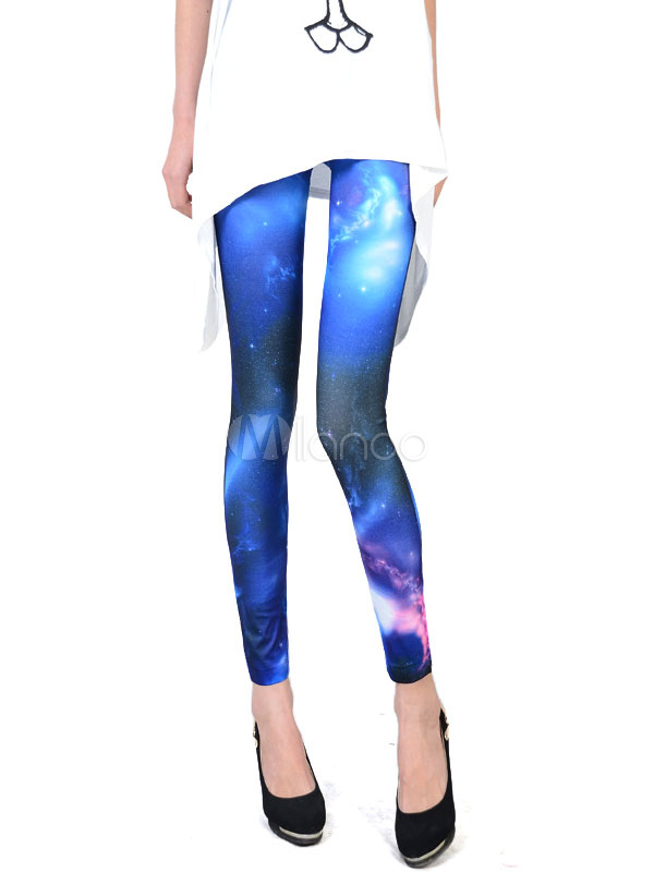 Blue Print Spandex Cozy Leggings for Women