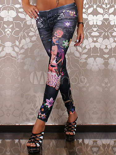 Multicolor Print Spandex Casual Leggings for Women