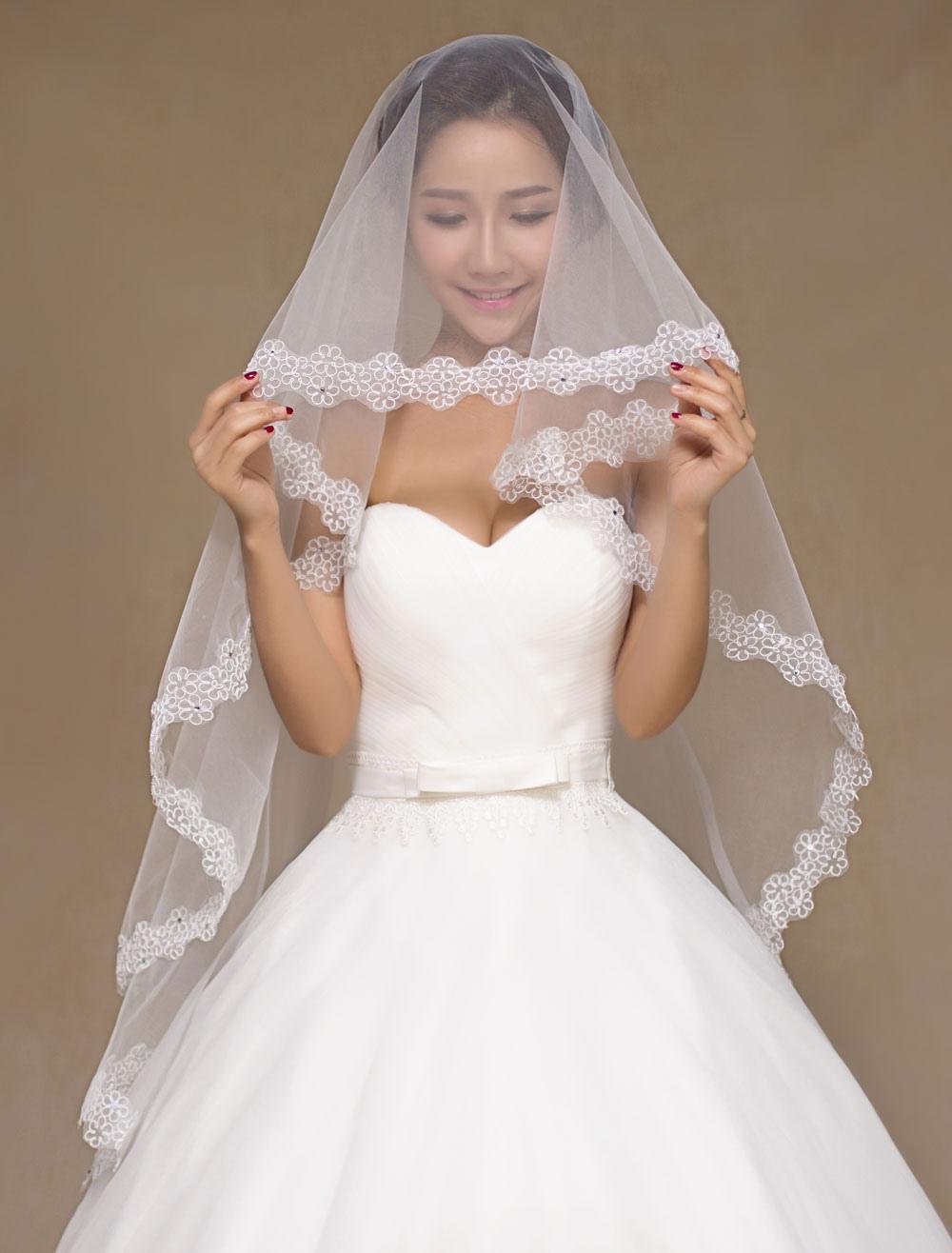 Ivory Semi-Sheer Lace Tulle Bridal Veil