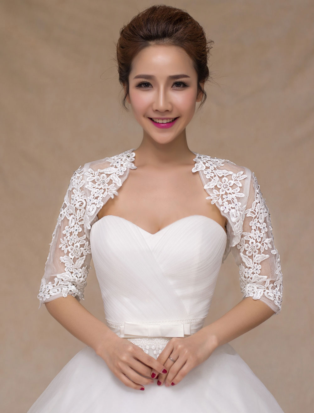 Wedding bolero jacket Ivory shrug Lace Bridal top