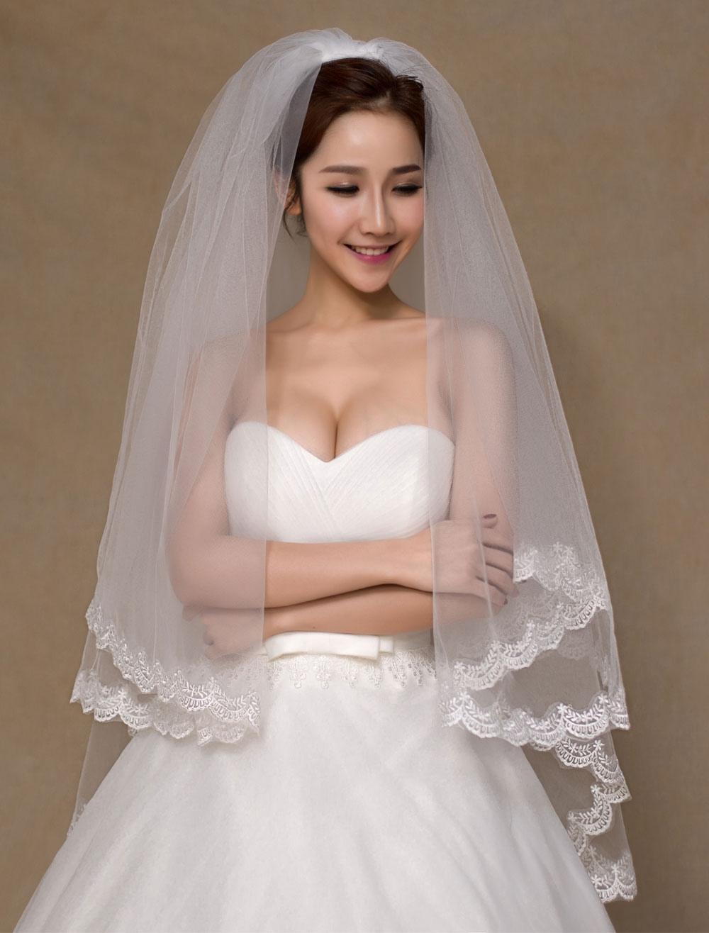 Ivory Semi-Sheer Tulle Chic Bridal Wedding Veil
