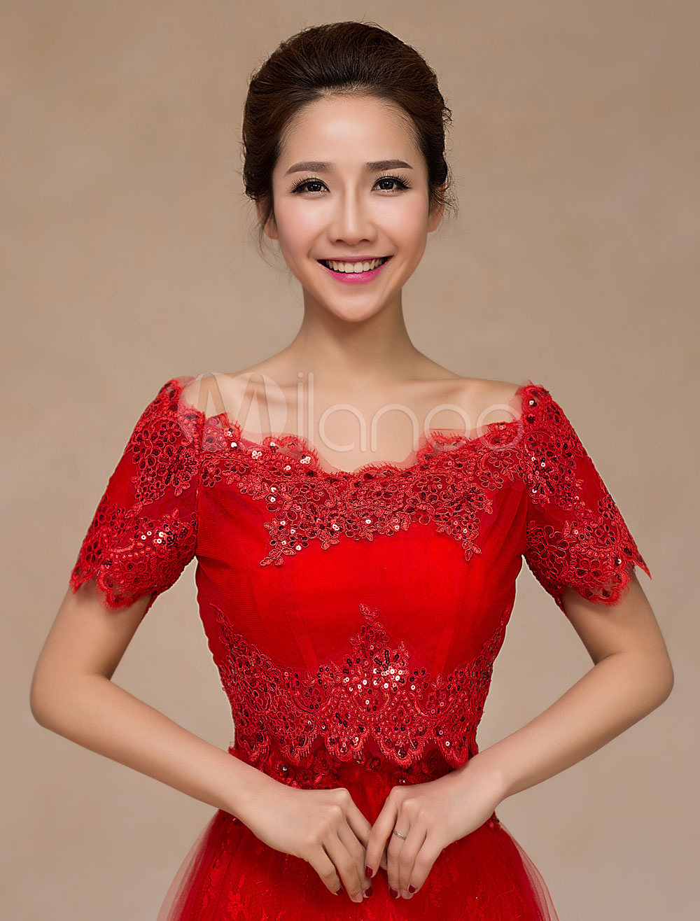 Red Lace Up Wedding Bridal Shawl for Women