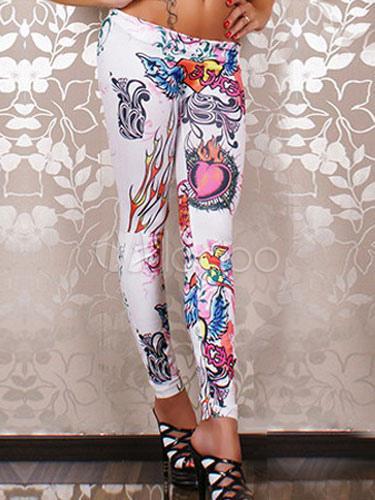White Print Shaping Spandex Leggings for Women