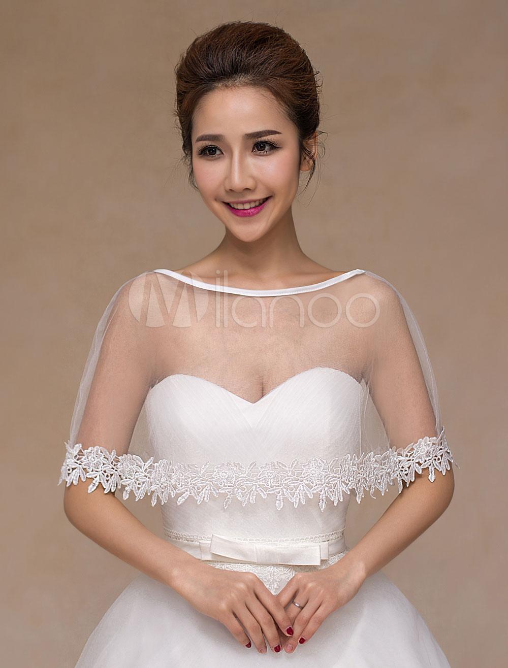 Ivory Tulle Sheer Chic Wedding Bridal Shawl for Women