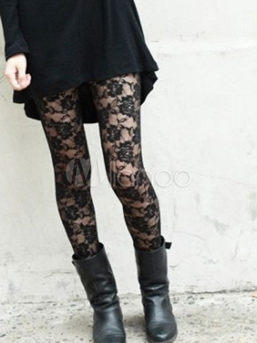 Black Woven Lace Sexy Slim Fit Leggings for Women Cheap clothes, free shipping worldwide