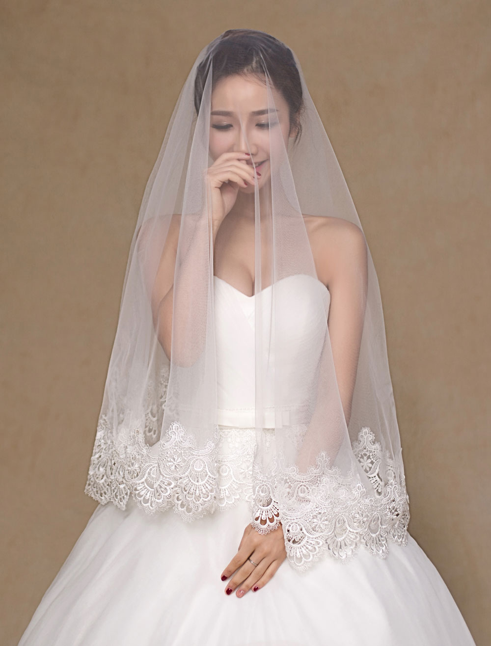 Ivory Lace Tulle Trendy Wedding Veil