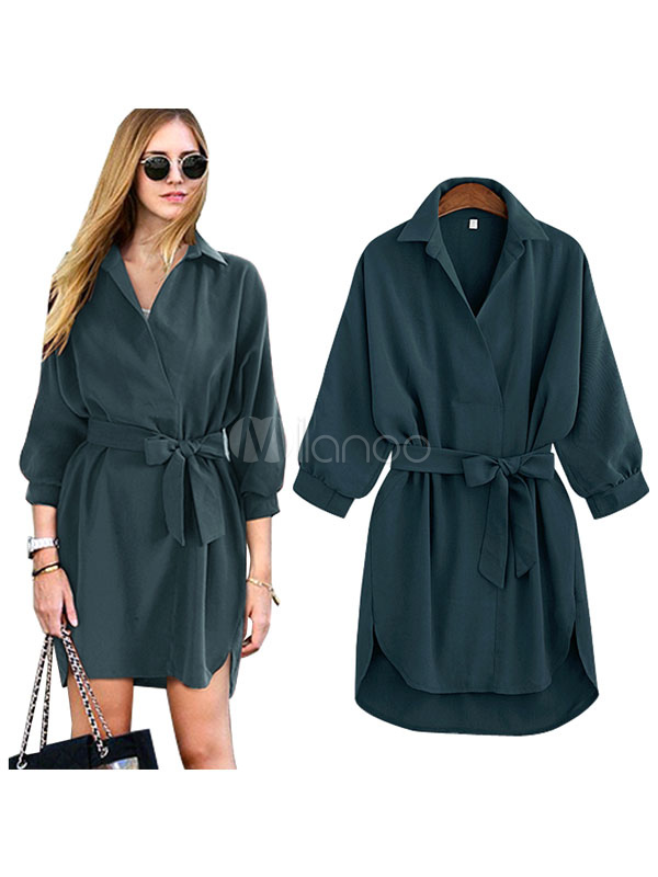 Buy Deep Green Acetate Shift Dress With Bow Sash for Women for $22.94 in Milanoo store
