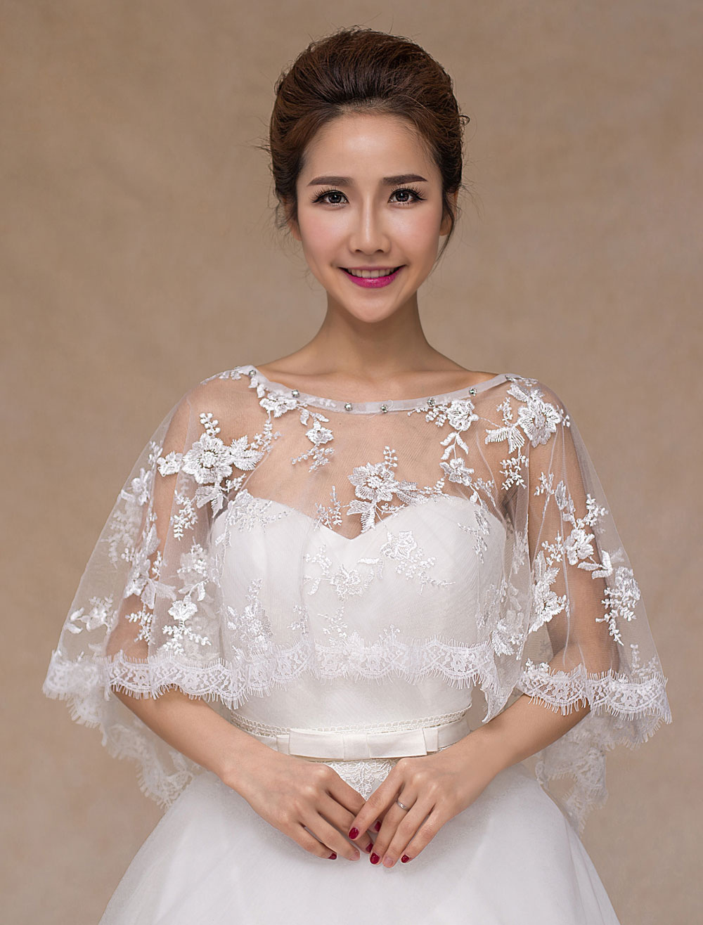 Ivory Sheer Lace Wedding Bridal Shawl for Women