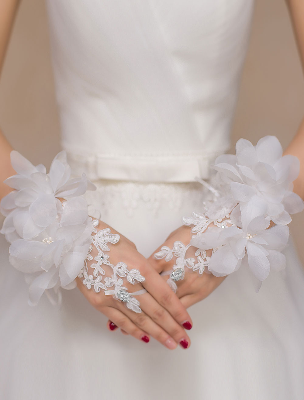 Ivory Lace Flowers Wedding Bridal Gloves