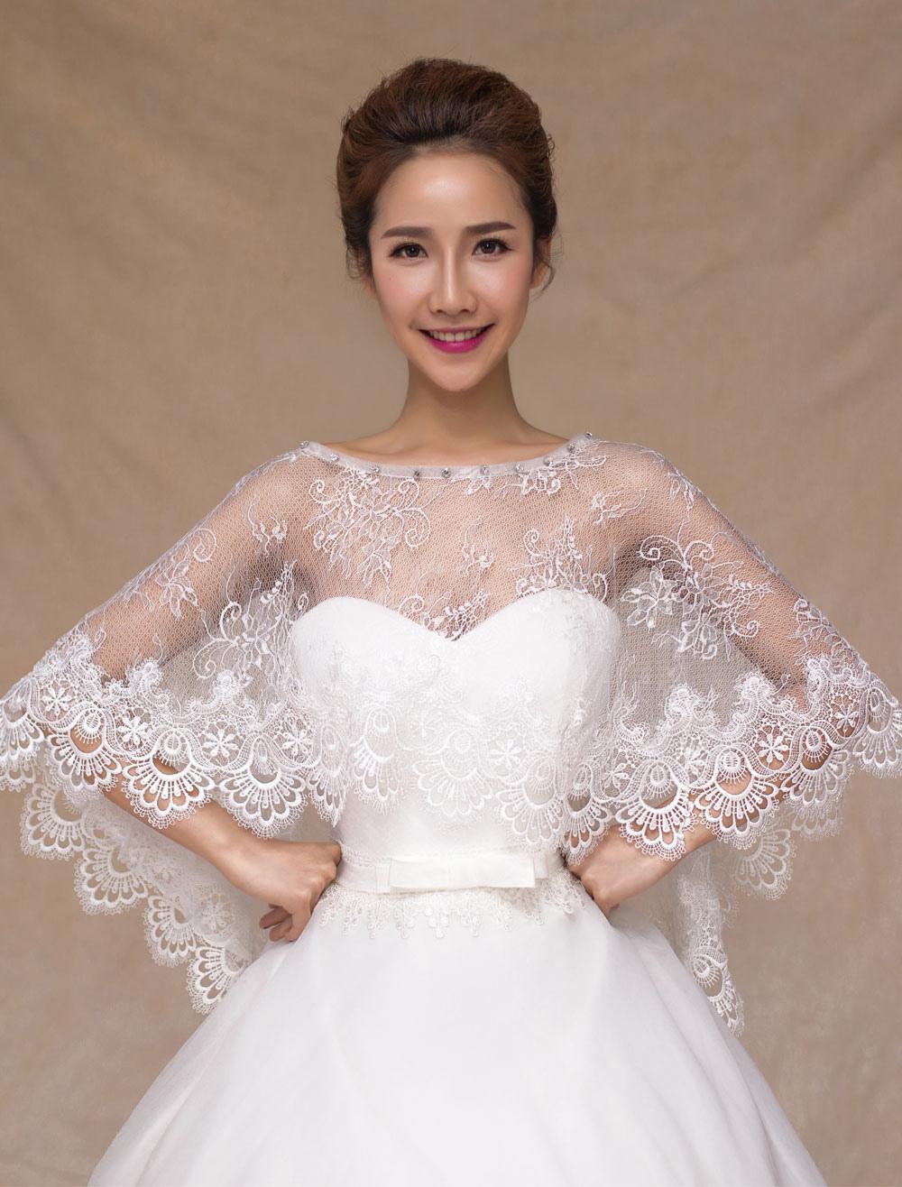 Ivory Semi-Sheer Lace Wedding Shawl for Women