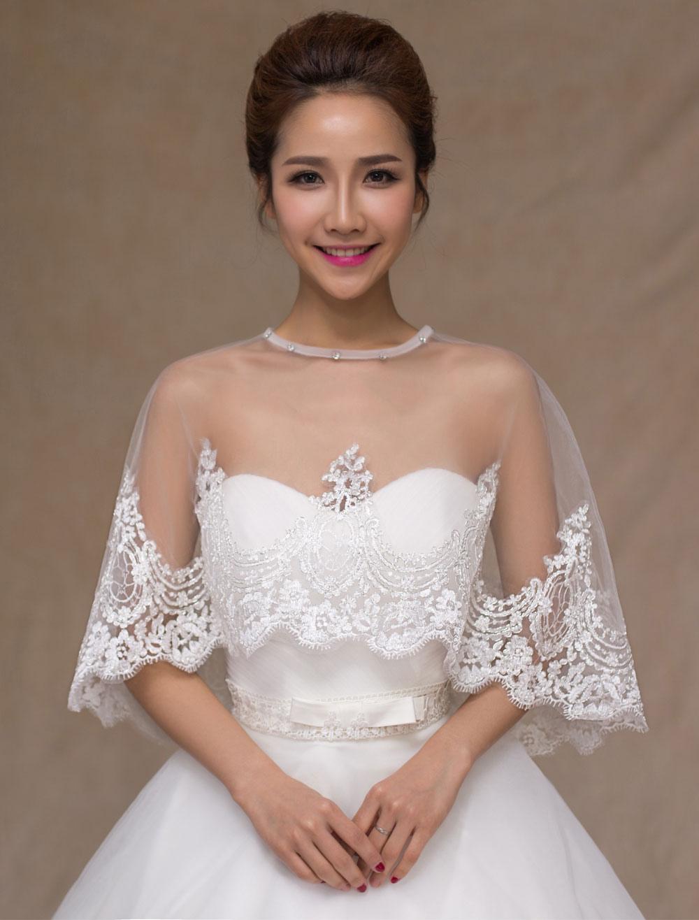 Ivory Lace Semi-Sheer Trendy Wedding Bridal Shawl
