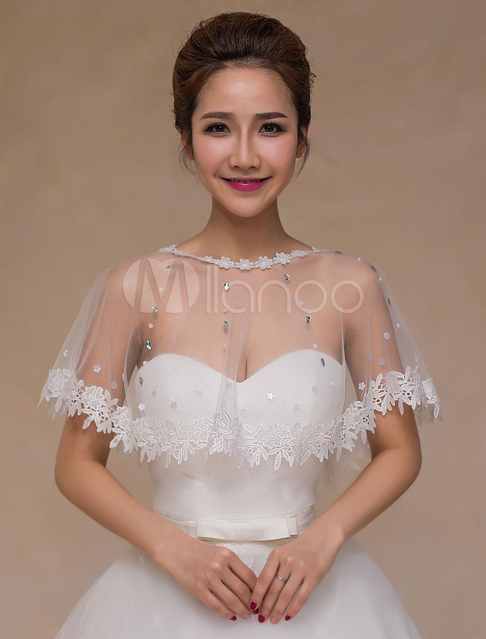 Ivory Lace Sheer Wedding Bridal Shawl for Women