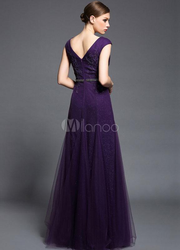 Grape Deep-V Prom Dress 2018 Satin Tulle Dress - Milanoo.com