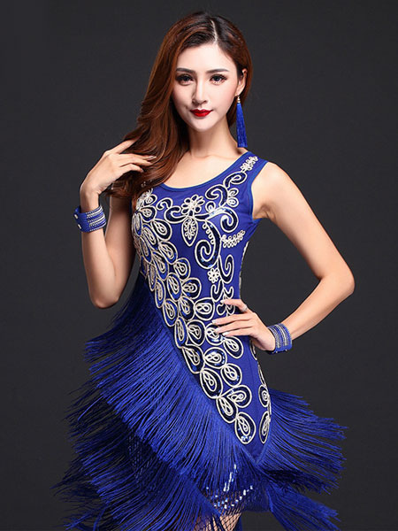 Abito di seta stampa latte blu ballo latino vestito frangia -No. ... acf4174401c