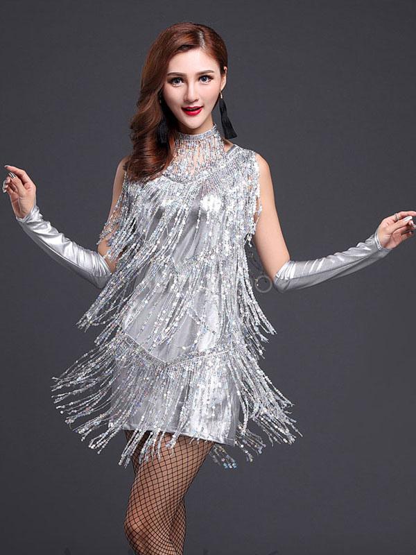 52bf682e6dac Abito seta argento ballo latino vestito frangia latte Chic - Milanoo.com