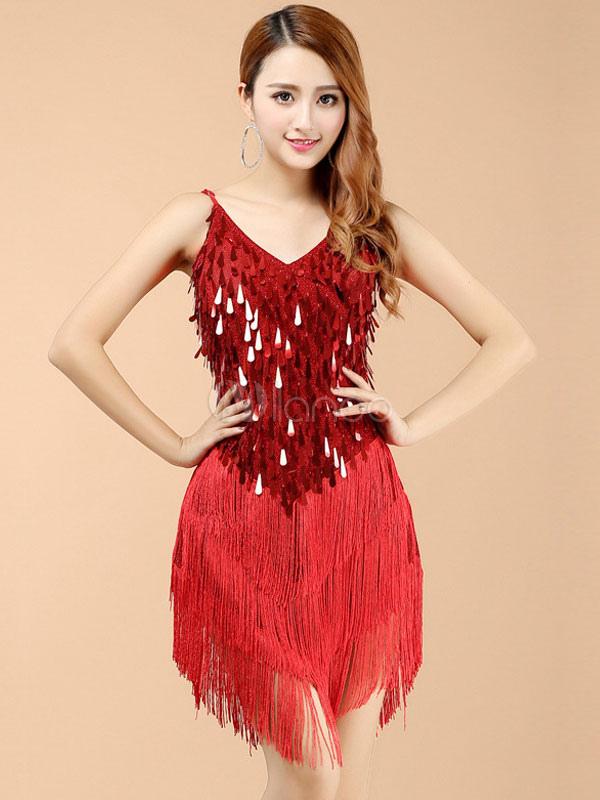 e335b2e1c6ff Ballo latino rosso vestito frange seta di latte - Milanoo.com