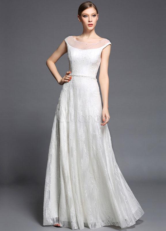 White Maxi Prom Dress 2018 Sequins Satin Tulle Dress