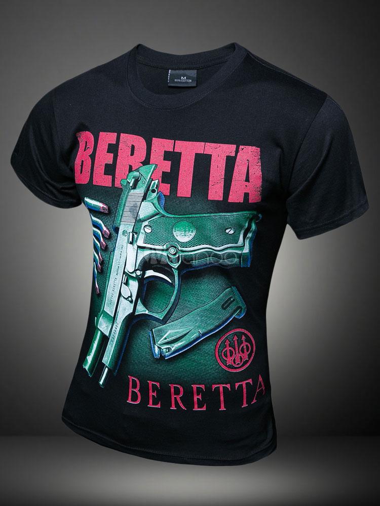 Letras negras arma impresión algodón camiseta para los hombres-No.1 ... 6d36e9dfb3eb