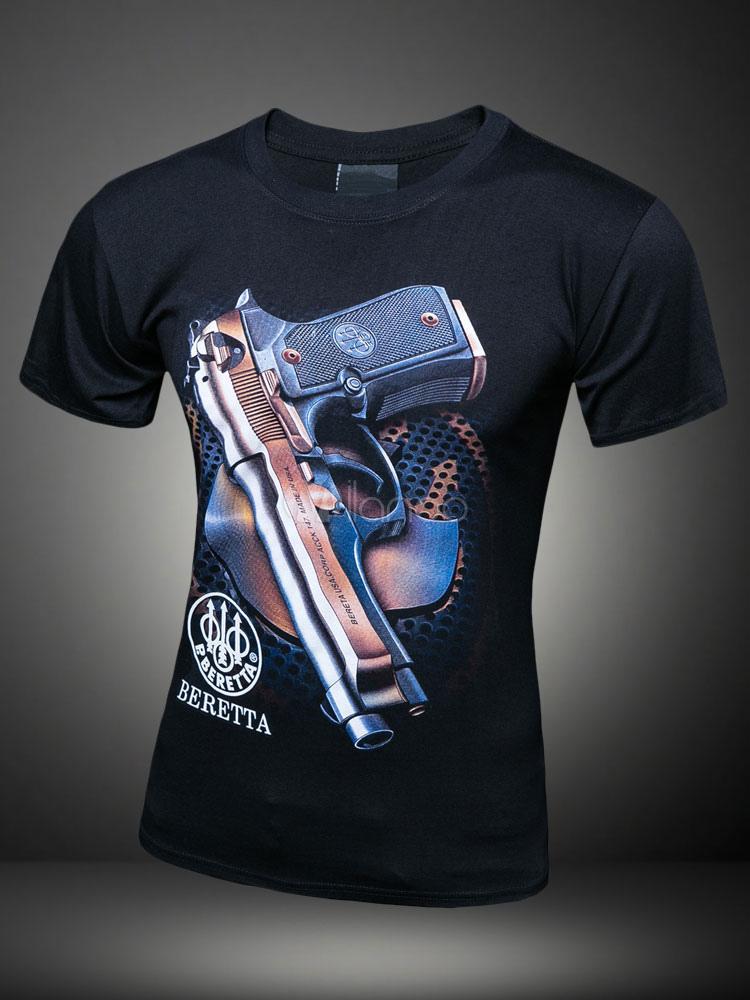 Camiseta de algodón de la impresión negra arma para hombres -No.1 ... f452debf7f3f
