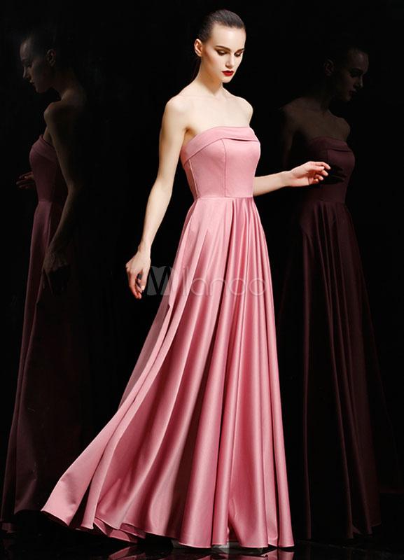 Vestido de noche de color salmón plisado vestido de fiesta de satén ...