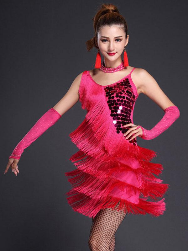 a60fe2dcf3aa2 Rosa rossa abito cinghie frangia paillettes latte seta vestito da ballo  latino -No. ...