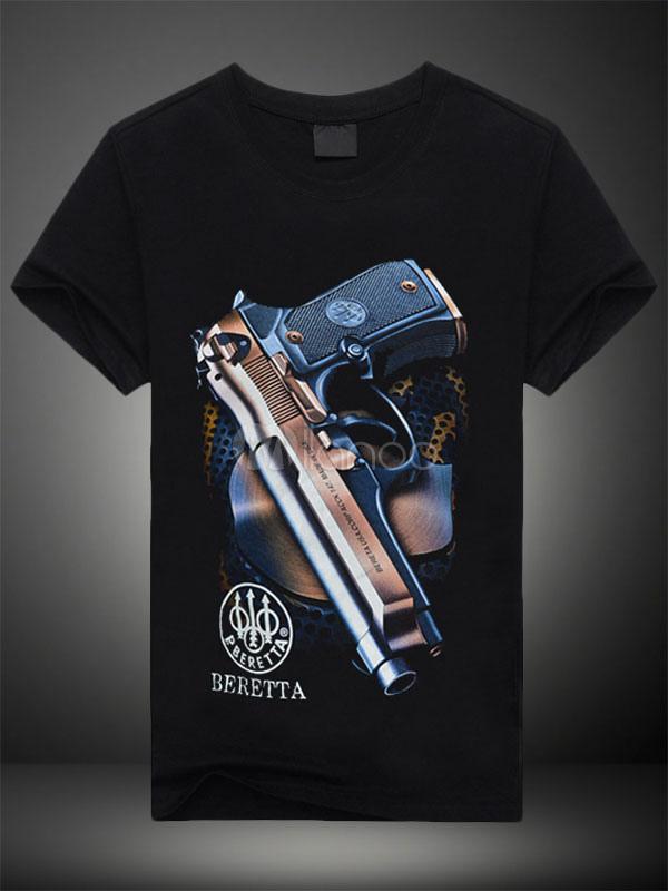... Camiseta de algodón de la impresión negra arma para hombres -No.2 ... c9700d4a7e38