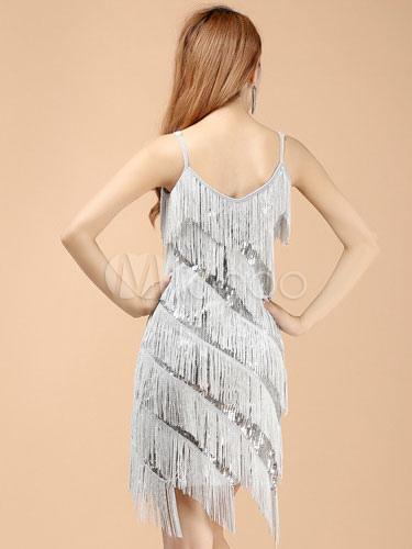 237c7916e483 Ballo latino d argento vestito frange seta di latte - Milanoo.com