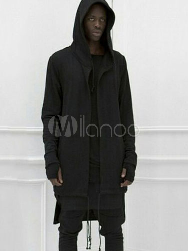Black Men Hoodie Full Zip Hooded Longline Jersey Jacket Long Sleeve Cotton Hoodie