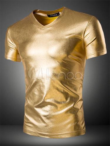 Short Sleeve T Shirt Metallic Casual Top V Neck Slim Fit Men T Shirt