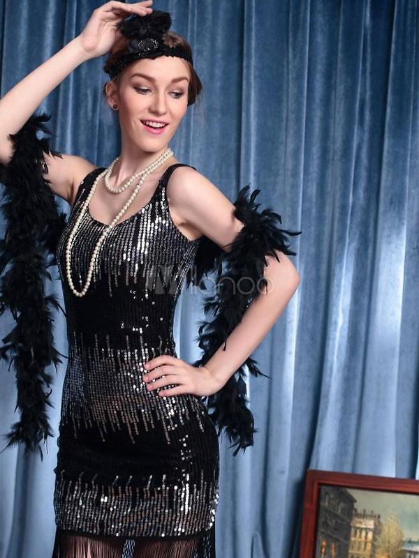 ... Las mujeres de Halloween 20 años negro aleta traje Charleston Club jazz  danza fantasía con lentejuelas ... 675199c2621b