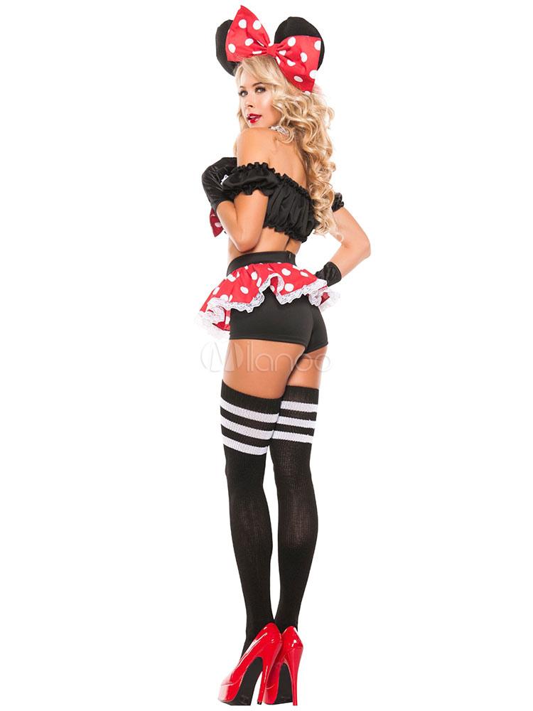 karneval mehrfarbigen micky maus polka dot bow aus polyester kost m f r frauen. Black Bedroom Furniture Sets. Home Design Ideas
