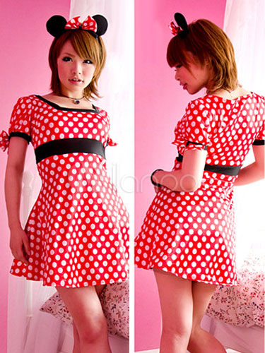 Halloween Red Mickey Mouse Polka Dot Polyester Dress Costume For