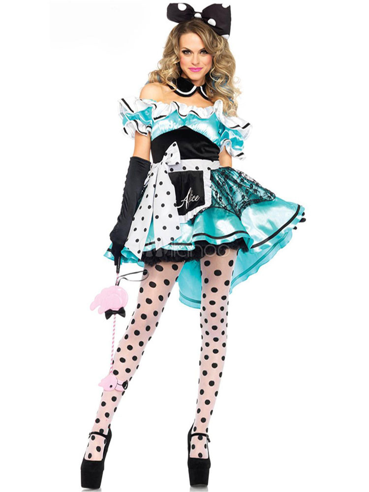 Halloween Multicolor Mickey Mouse Polka Dot Polyester Costume For
