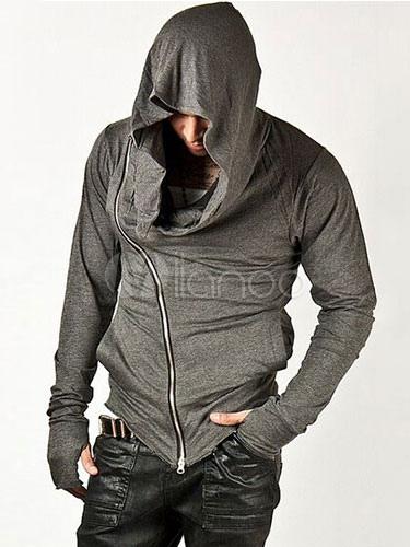 Full Zip Hoodie Gray Zipper Cotton Shaping Hoodie Men Sweatshirt