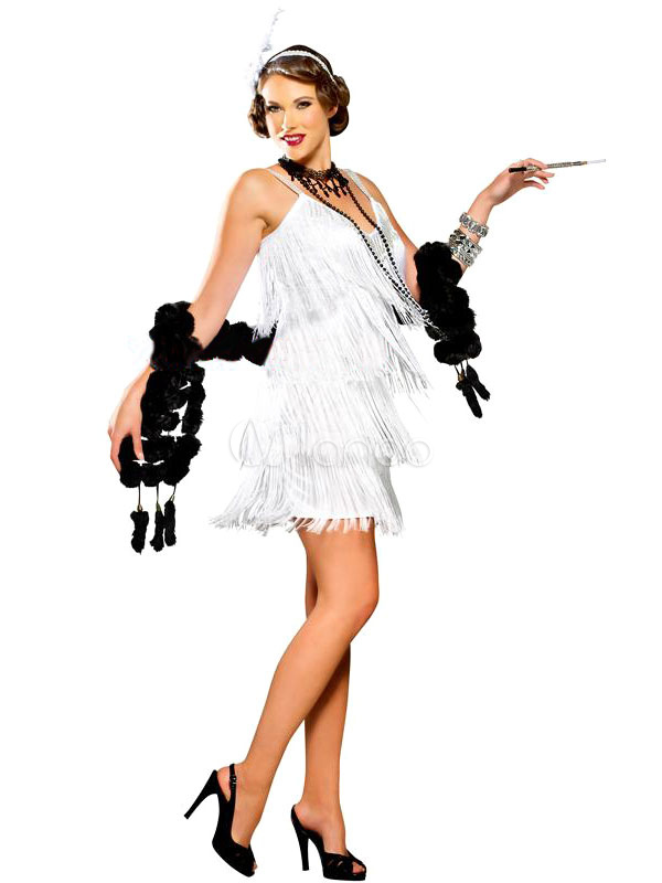 Halloween 20er Jahre Frauen Weisse Flapper Kostum Charleston Kleid