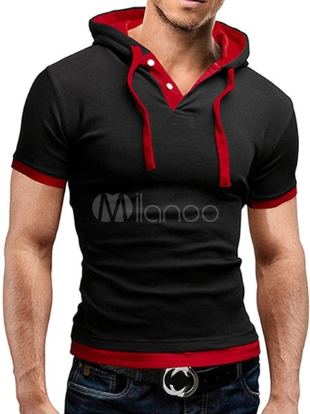 Black Lace Up Cotton Blend T-Shirt for Men