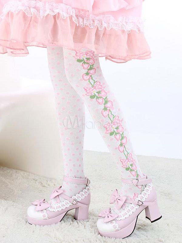 Buy White Floral Print Synthetic Lolita Socks for $9.09 in Milanoo store