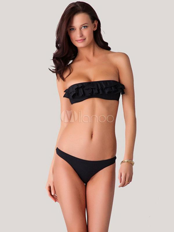 c7fddf99d Negro Strapless volantes poliester Bikini traje de baño - Milanoo.com