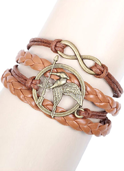 Brown Embossed Knitted Faux Leather Bracelet for Men