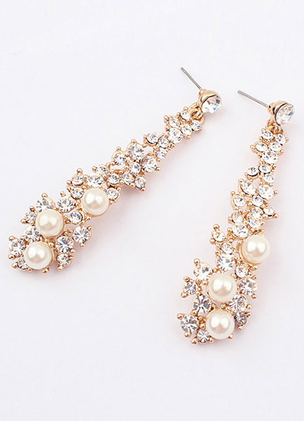 Buy Women Pearl Earring Rhinestone Golden Drop Earring for $4.24 in Milanoo store