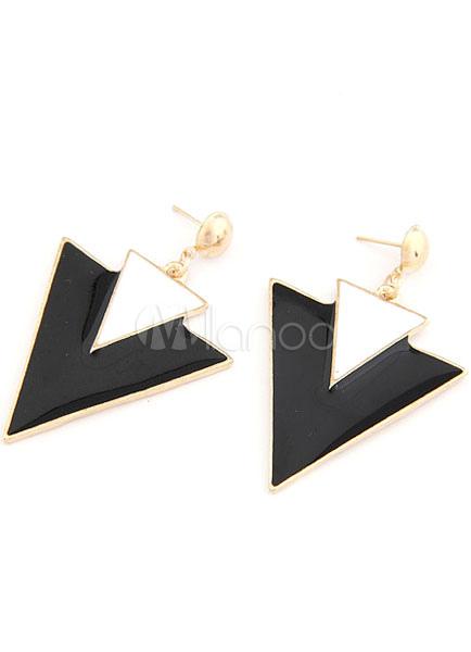 Multicolor Triangle Shape Metal Earrings