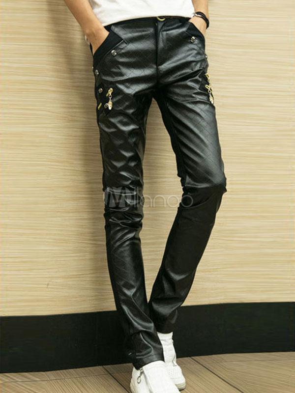 Men Motorcycle Pant PU Patchwork Metallic Straight Leg Pant