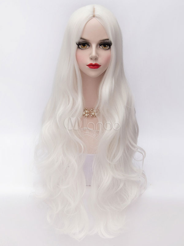 White Lolita Middle Parted Curly Long Fiber Wig  Halloween