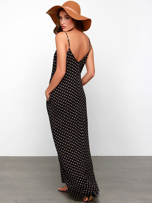 449a4fef90650 ... Black Straps Polka Dot Backless Chiffon Maxi Dress -No.2 ...