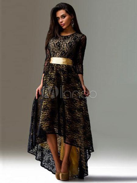 Lace Black Dress High Low Dress Sash Three Quarter Sleeve Women Maxi Dress Cheap clothes, free shipping worldwide